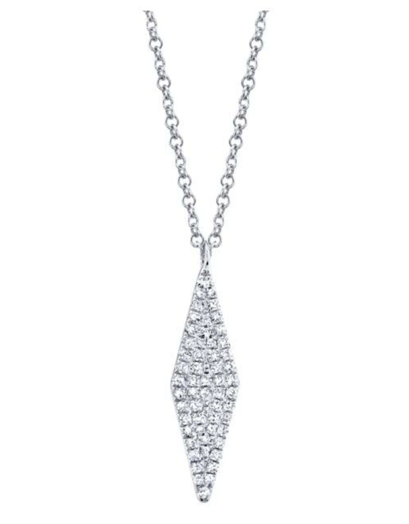 14K White Gold  Diamond Pave Kite Necklace, D: 0.17ct