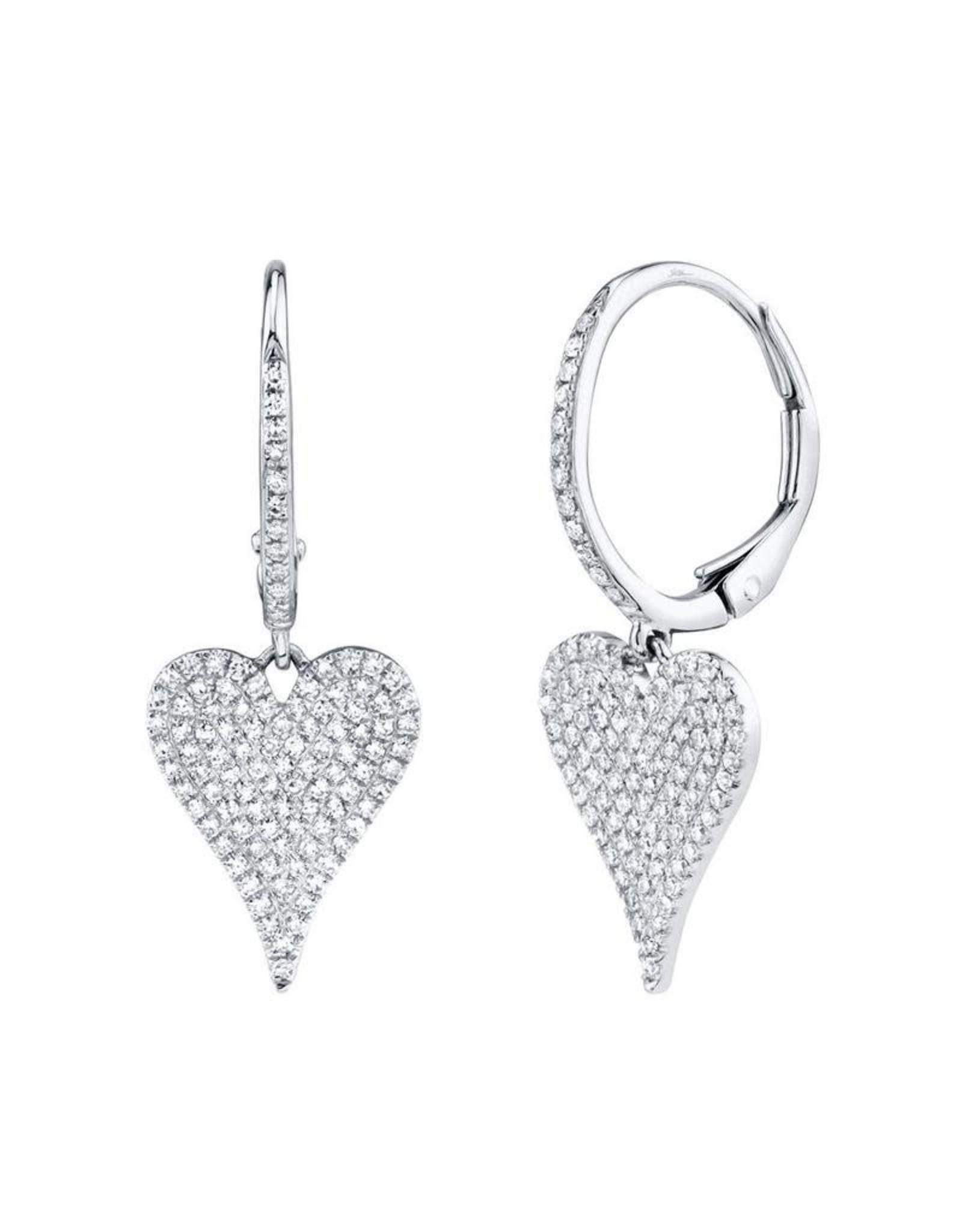 14K W/G Diamond Pave Heart Dangle Earrings, D:  0.47ct