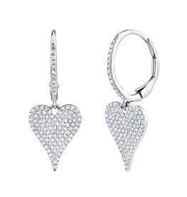 14K W/G Diamond Pave Heart Dangle Earrings