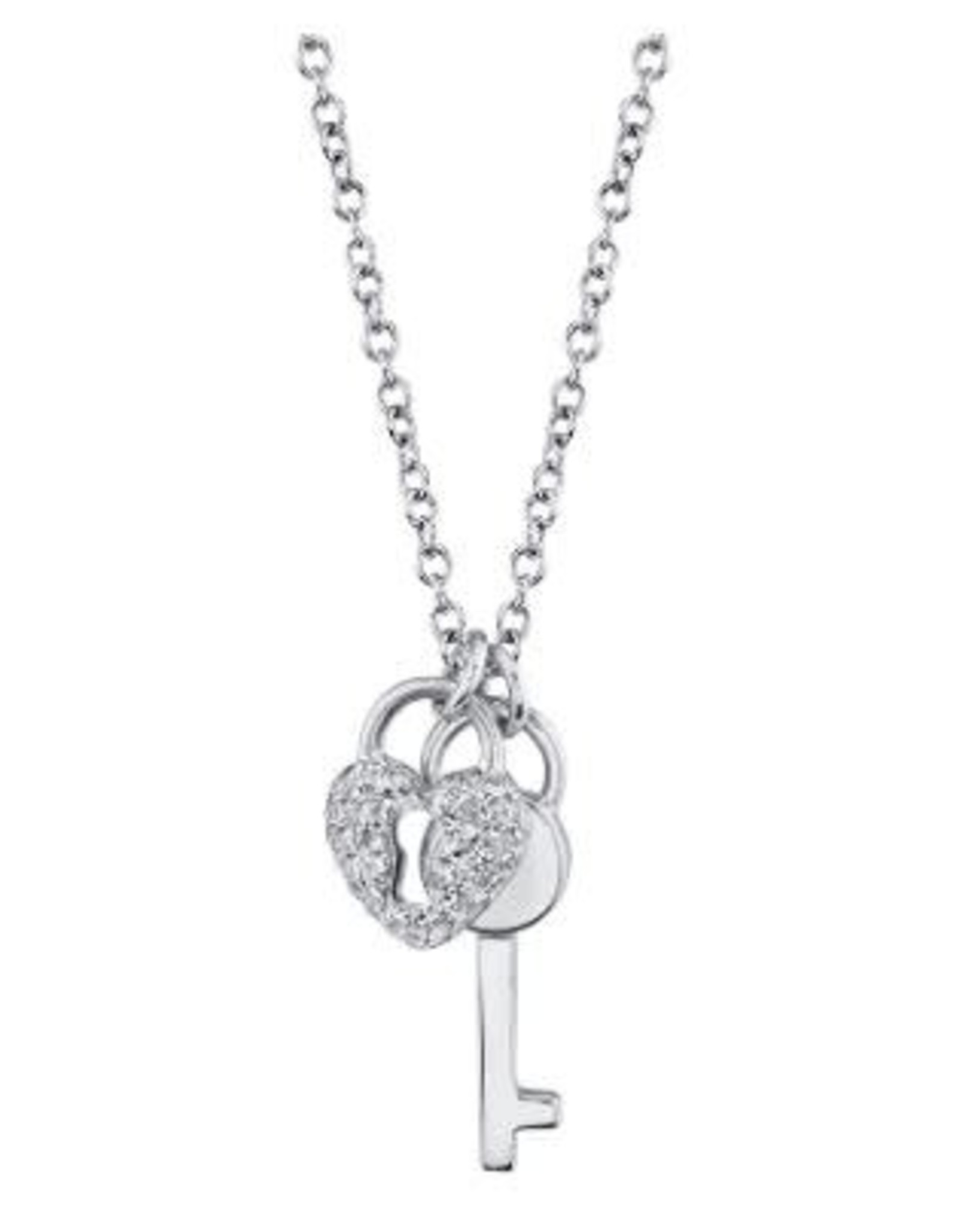 14K White Gold  Diamond Lock and Key Necklace, D: 0.11ct