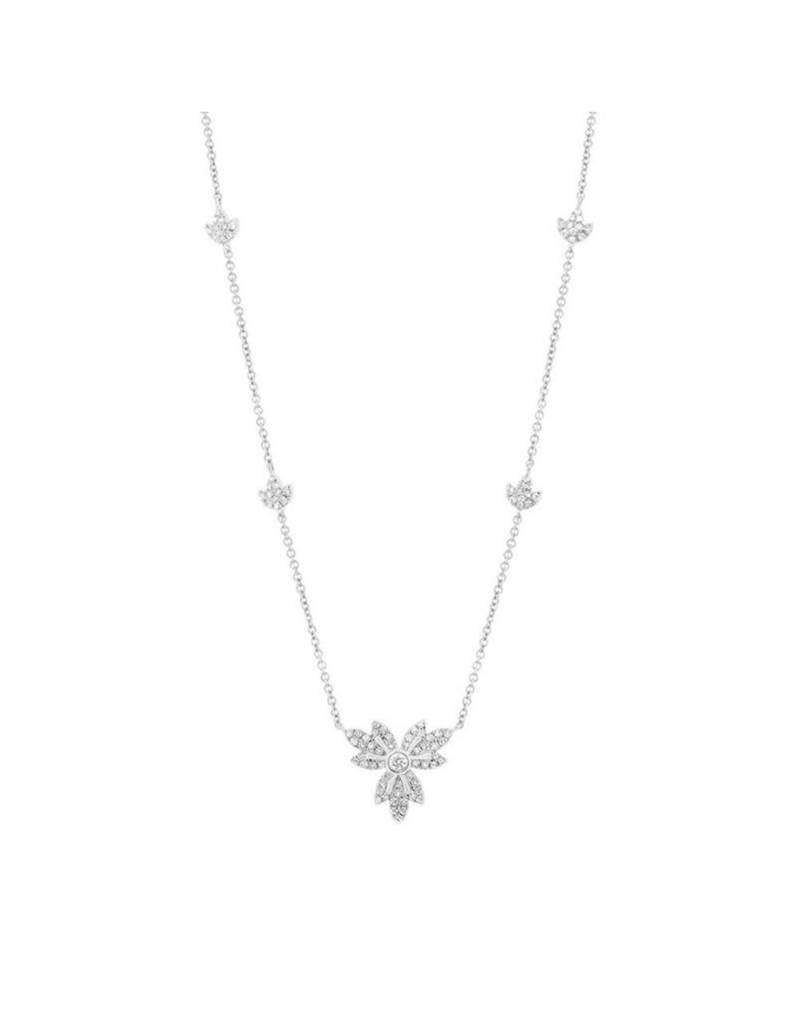 14K White Gold Diamond Lotus Flower Necklace, D: 0.32ct