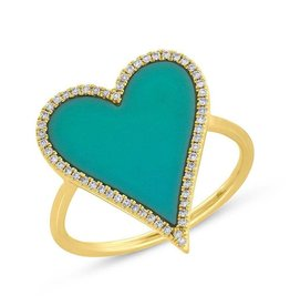 14K Y/G Turquoise and Diamond Heart Ring