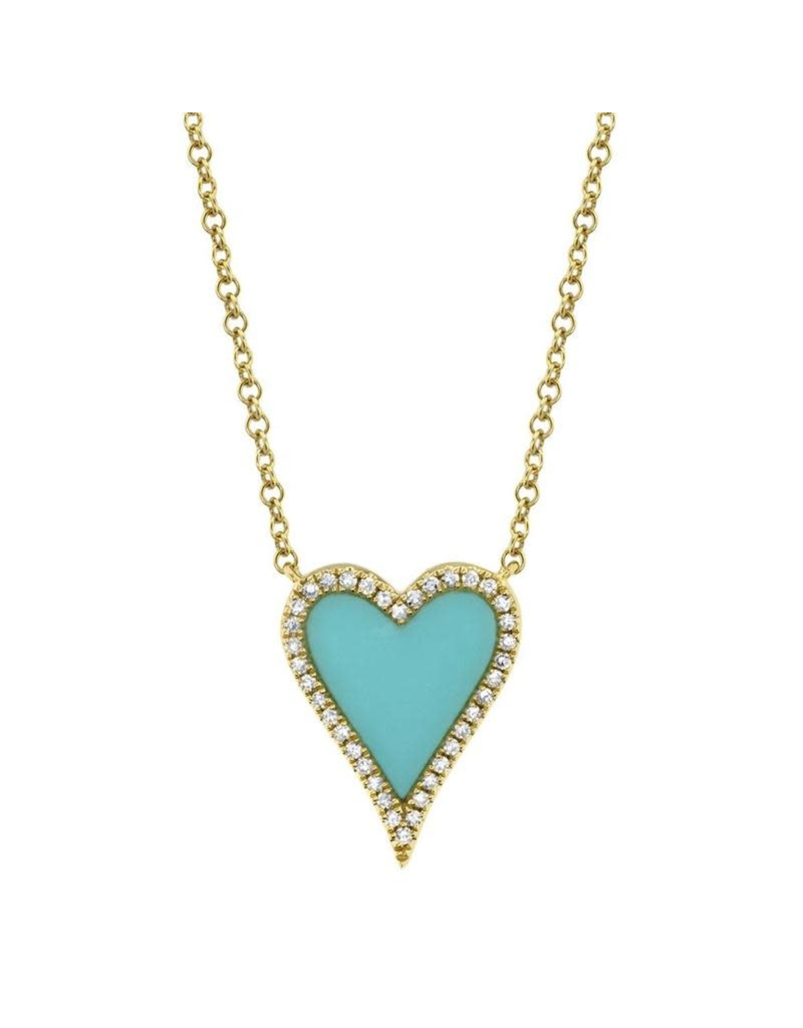 14K Yellow Gold Small Turquoise & Diamond Heart Necklace, TQ: 0.69ct, D: 0.09ct