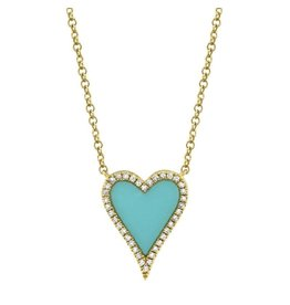 14K Y/G Small Turquoise & Diamond Heart Necklace