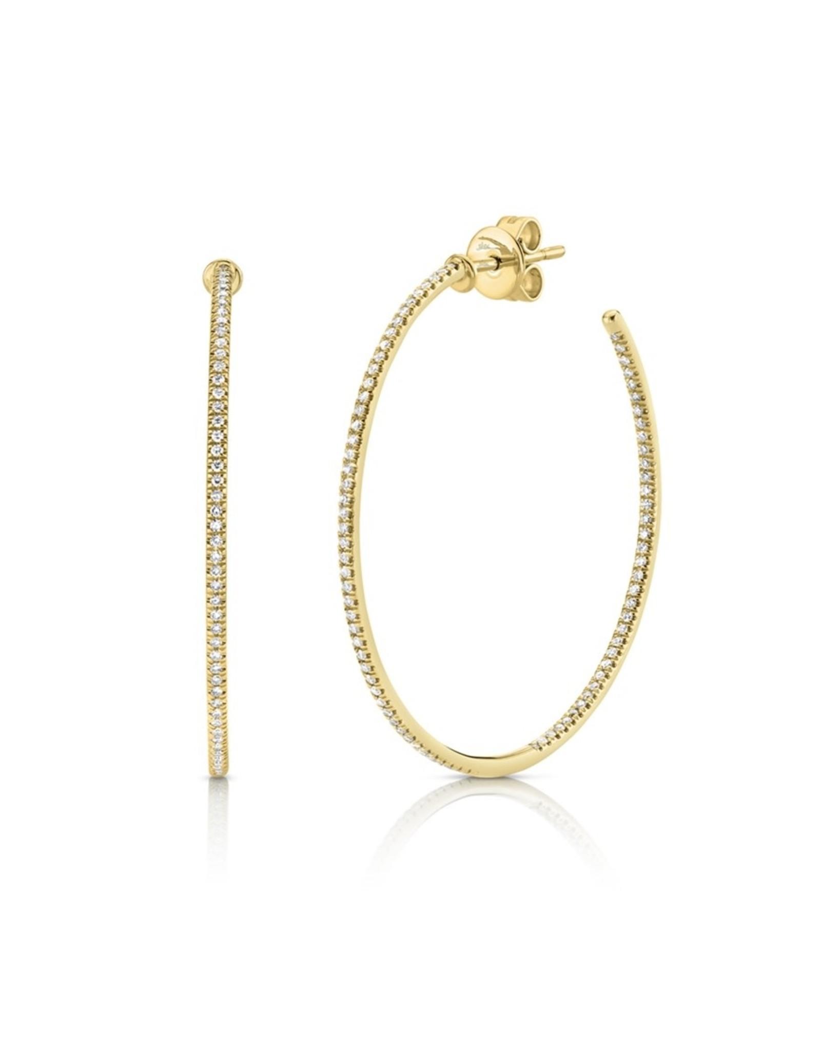 14K Yellow Gold Skinny Diamond Hoop Earrings,  D: 0.36ct