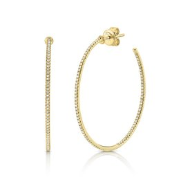 14K Y/G Skinny Diamond Hoop Earrings