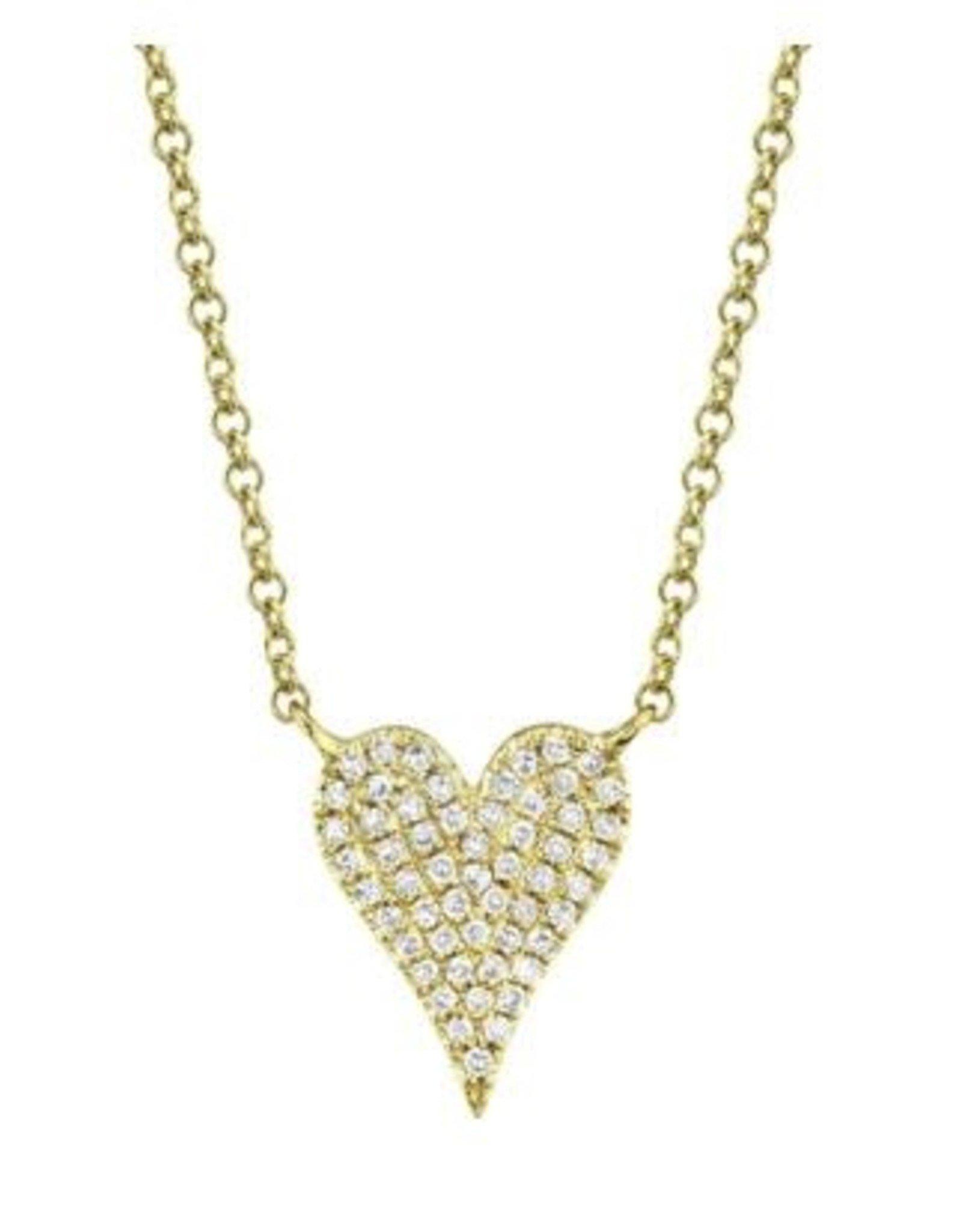 14K Yellow Gold Petite Pave Diamond Heart Necklace,  D: 0.11ct