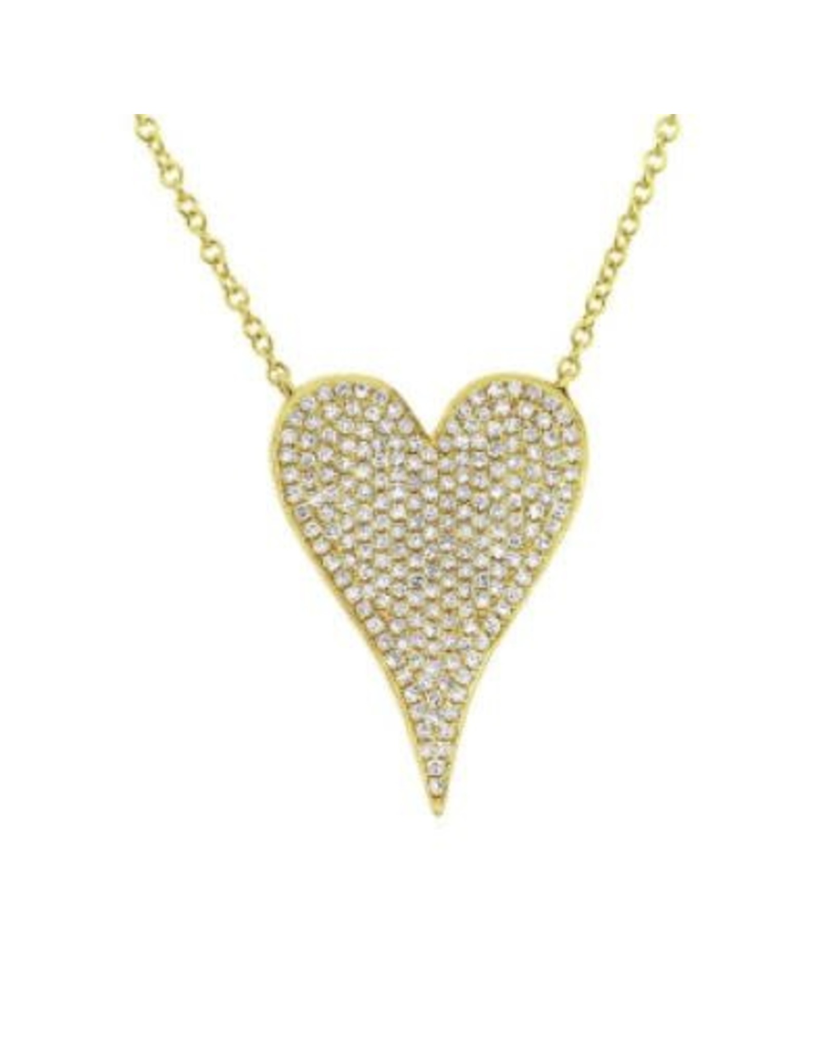 14K Yellow Gold Large Pave Diamond Heart Necklace, D: 0.43ct