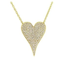 14K Y/G Large Pave Diamond Heart Necklace