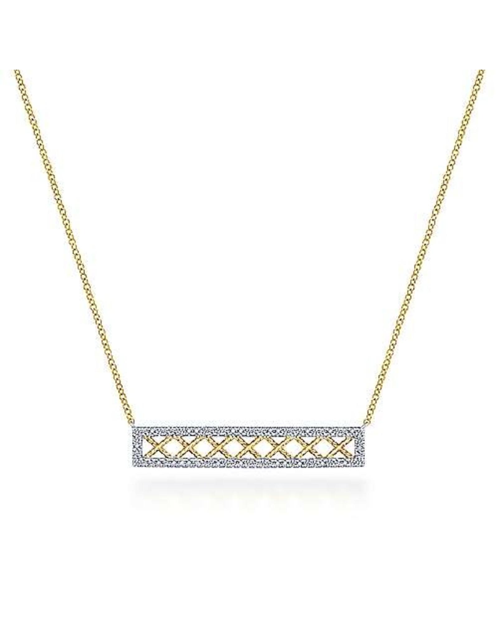 14K 2-Tone Openwork Diamond Bar Necklace, D: 0.32ct