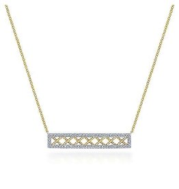 14K 2-Tone Openwork Diamond Bar Necklace