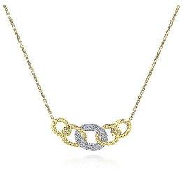 14K 2-tone Diamond Miami Chain Link Necklace
