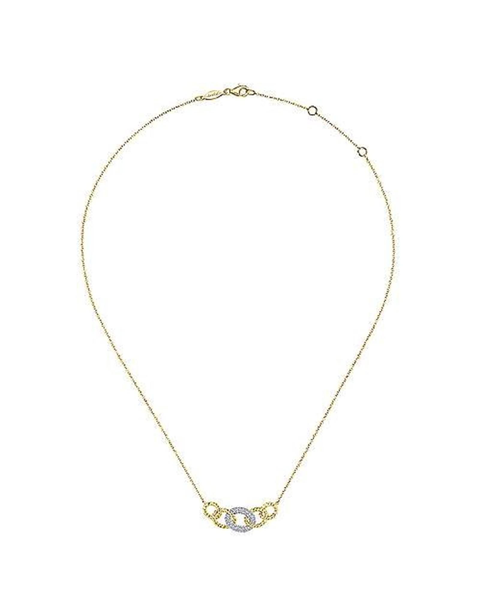 14K 2-tone Diamond Miami Link Chain Necklace, D: 0.21ct