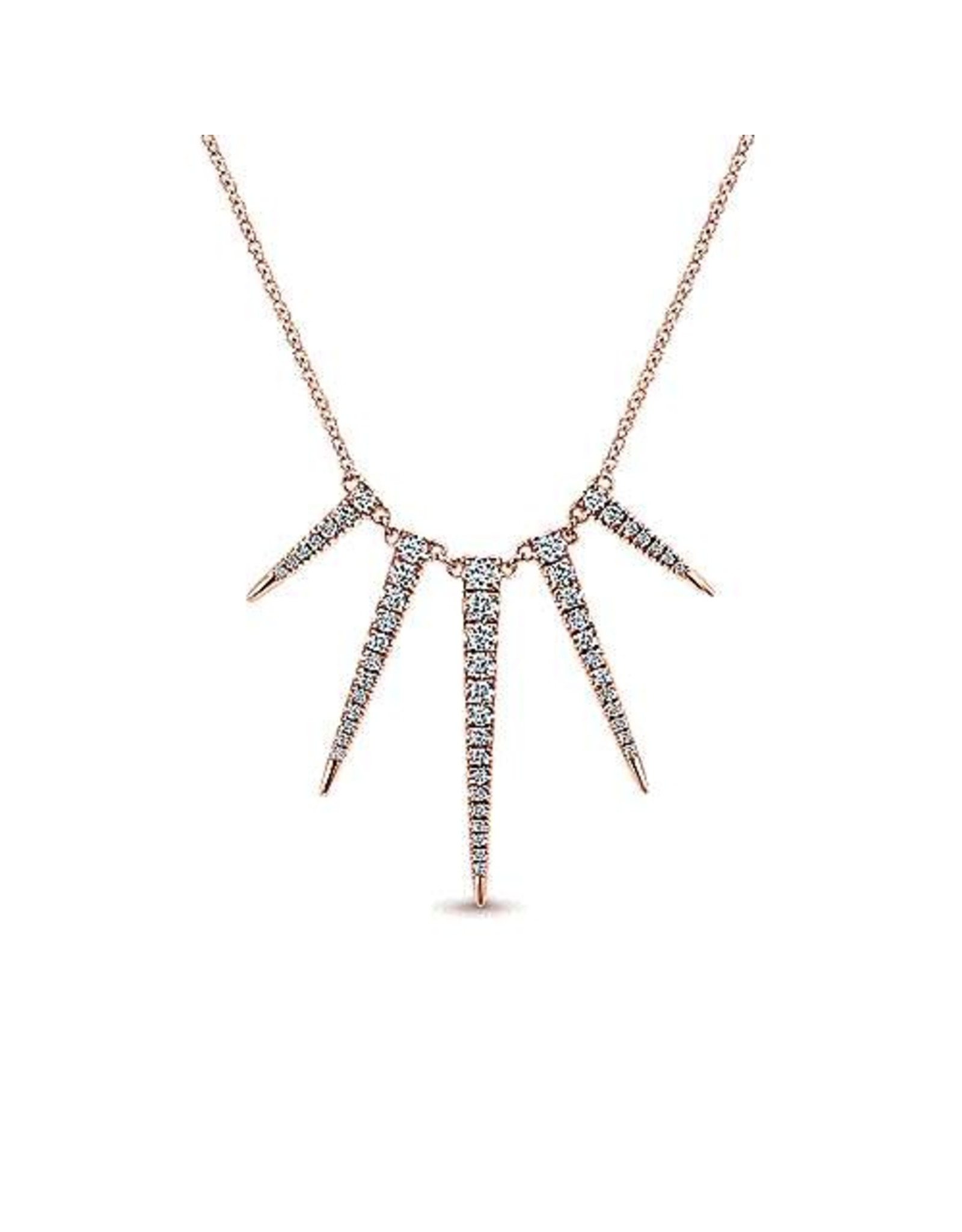 14K Rose Gold Edgy Diamond Spike Necklace, D: 0.62ct