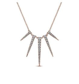 14K R/G Edgy Diamond Spike Necklace