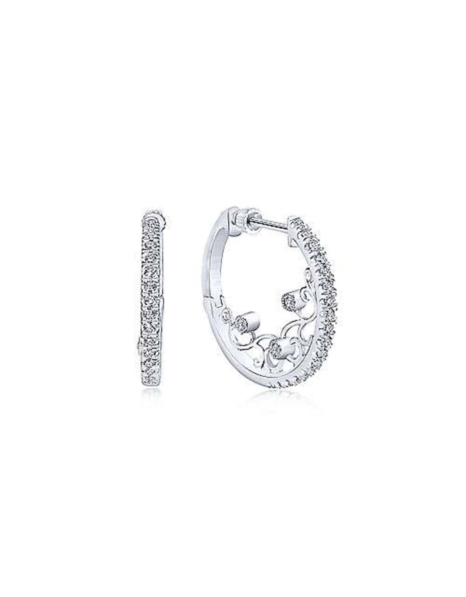 14K White Gold 20mm Intricate Diamond Hoop Earrings, D: 0.52ct