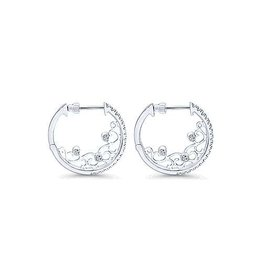 14K W/G 20mm Intricate Diamond Hoop Earrings