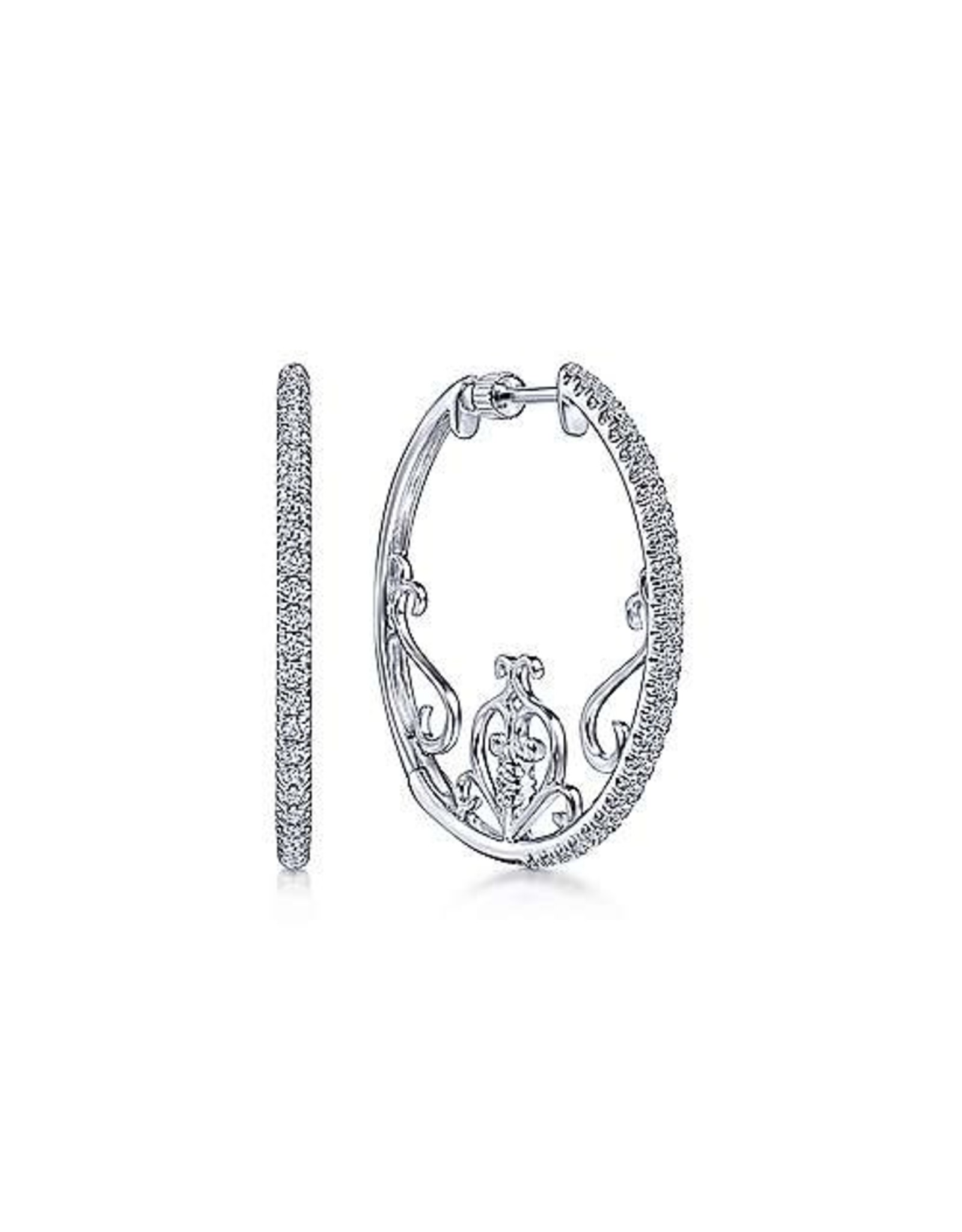 14K White Gold 25mm Intricate Diamond Hoops, D: 0.61ct