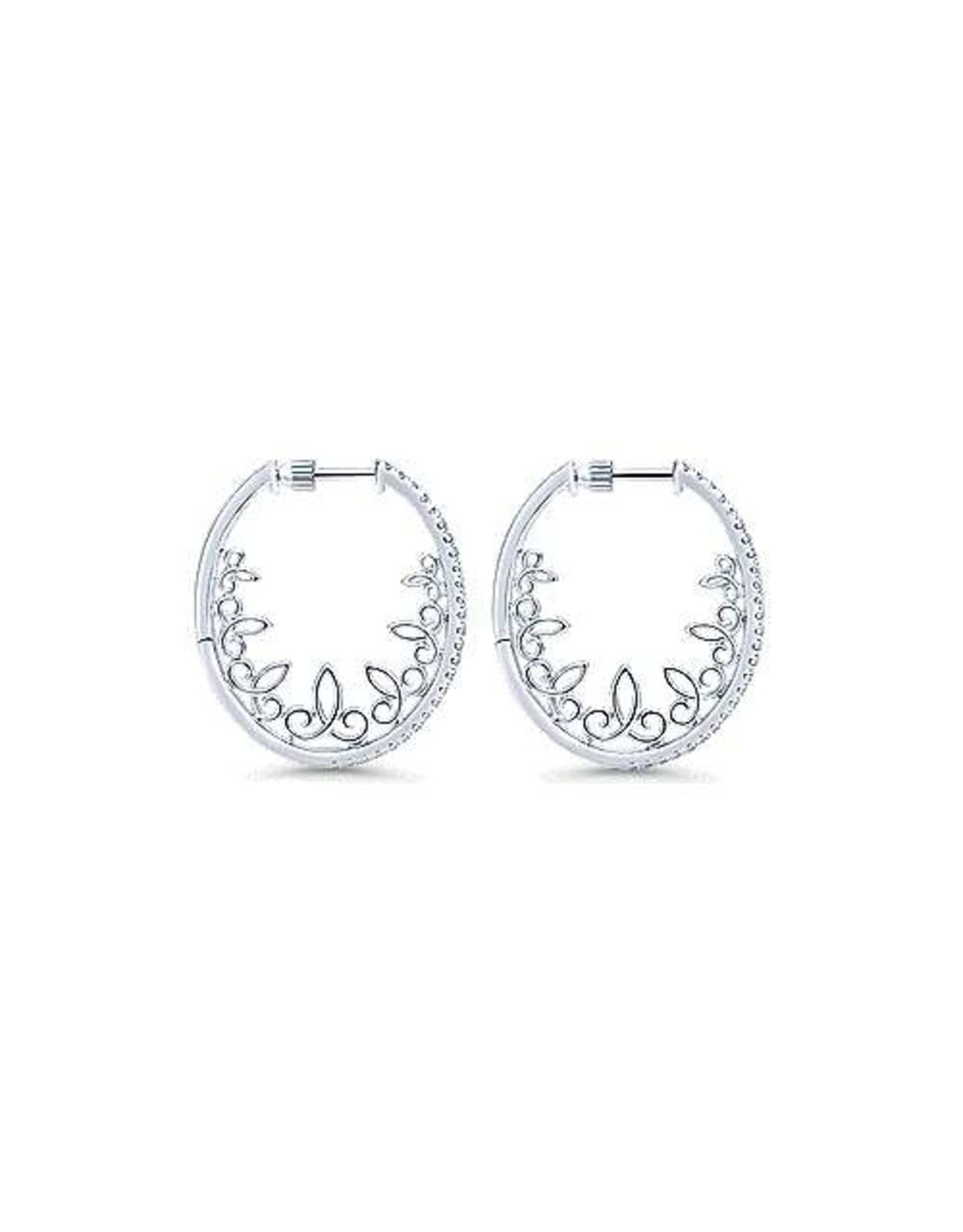 14K White Gold 30mm Intricate Diamond Hoop Earrings, D: 0.57ct