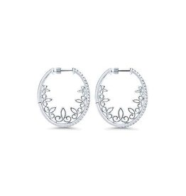 14K W/G 30mm Intricate Diamond Hoop Earrings