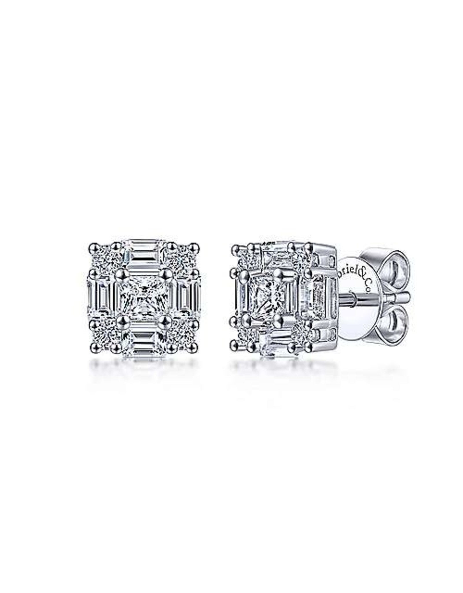 14K White Gold Baguette & Round Diamond Stud Earrings, D: 1.02ct