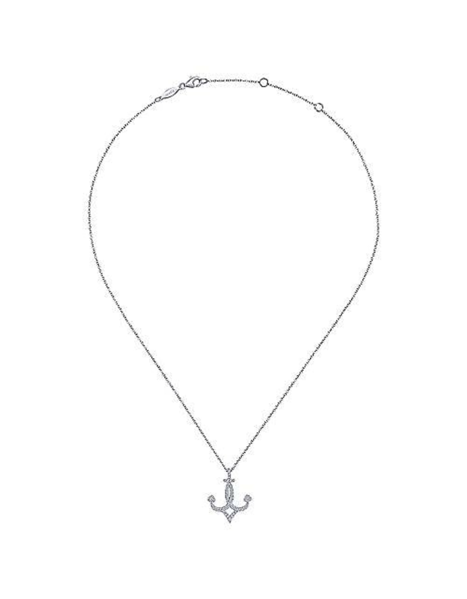 14K White Gold Diamond Anchor Necklace, D: 0.26ct