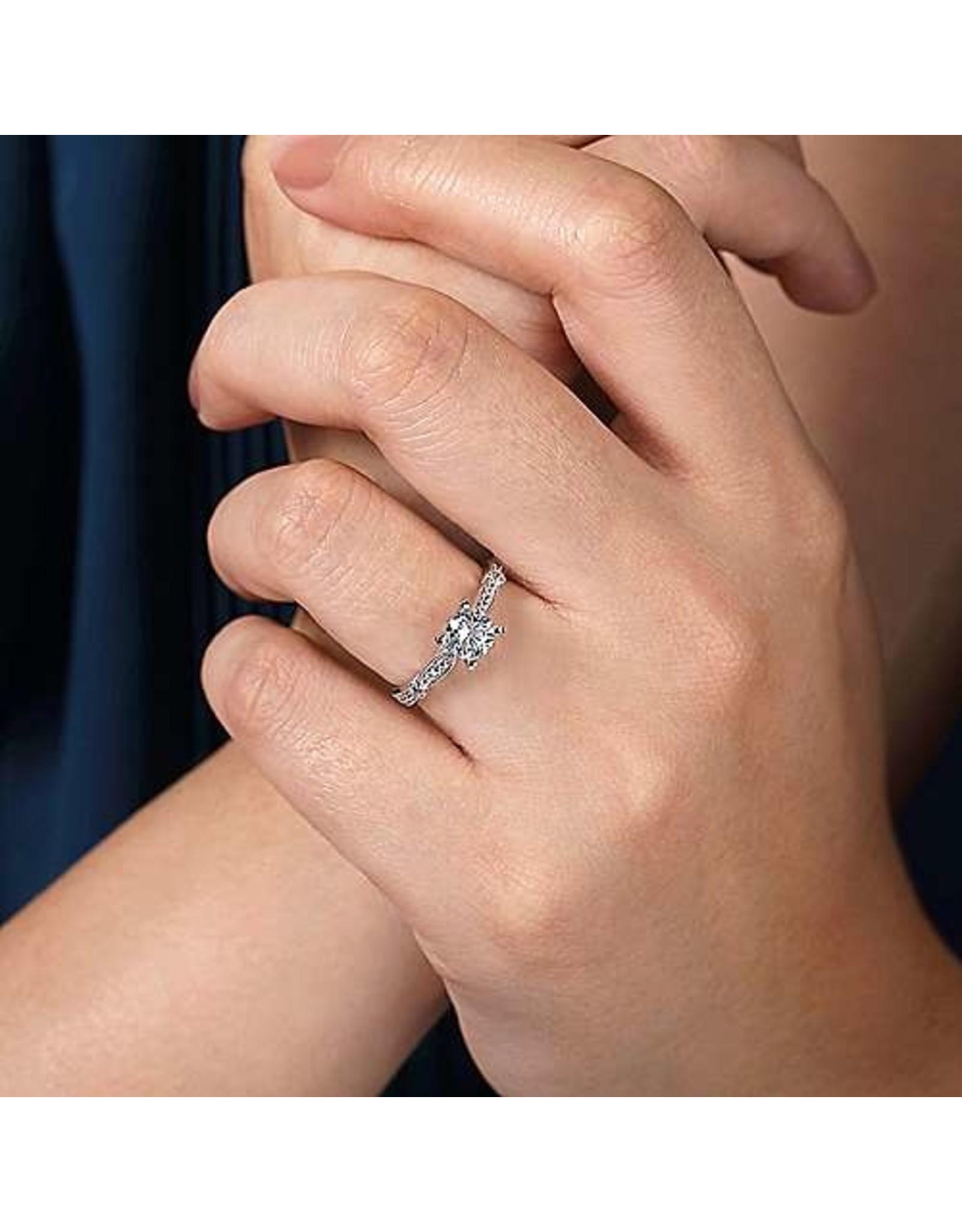 14K White Gold Diamond Engagement Ring Setting