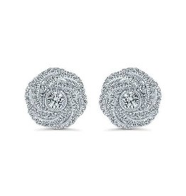 14K W/G Diamond Swirl Stud Earrings