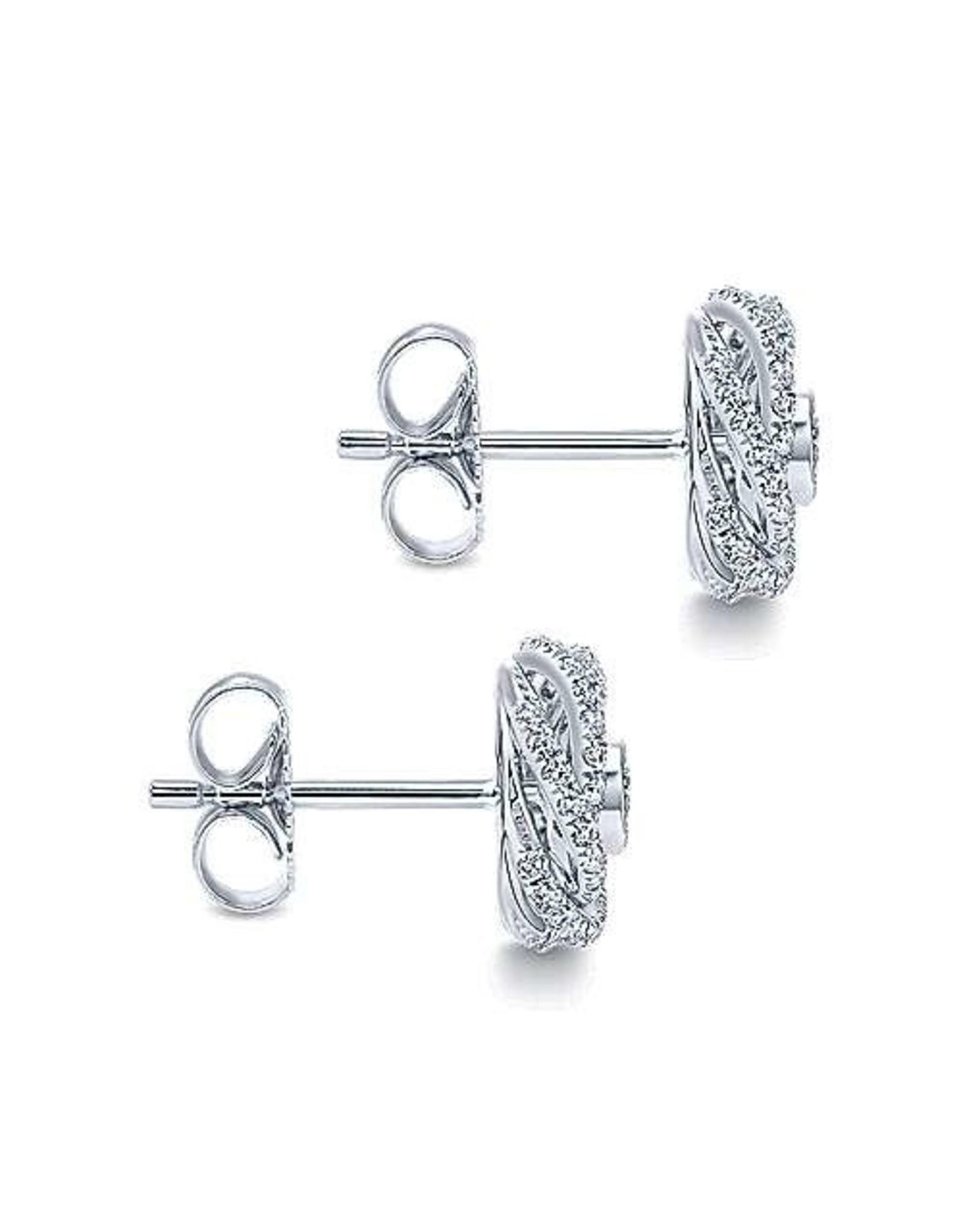 14K White Gold Diamond Swirl Stud Earrings, D: 0.65ct