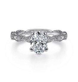 14K W/G Oval Diamond  Engagement Ring