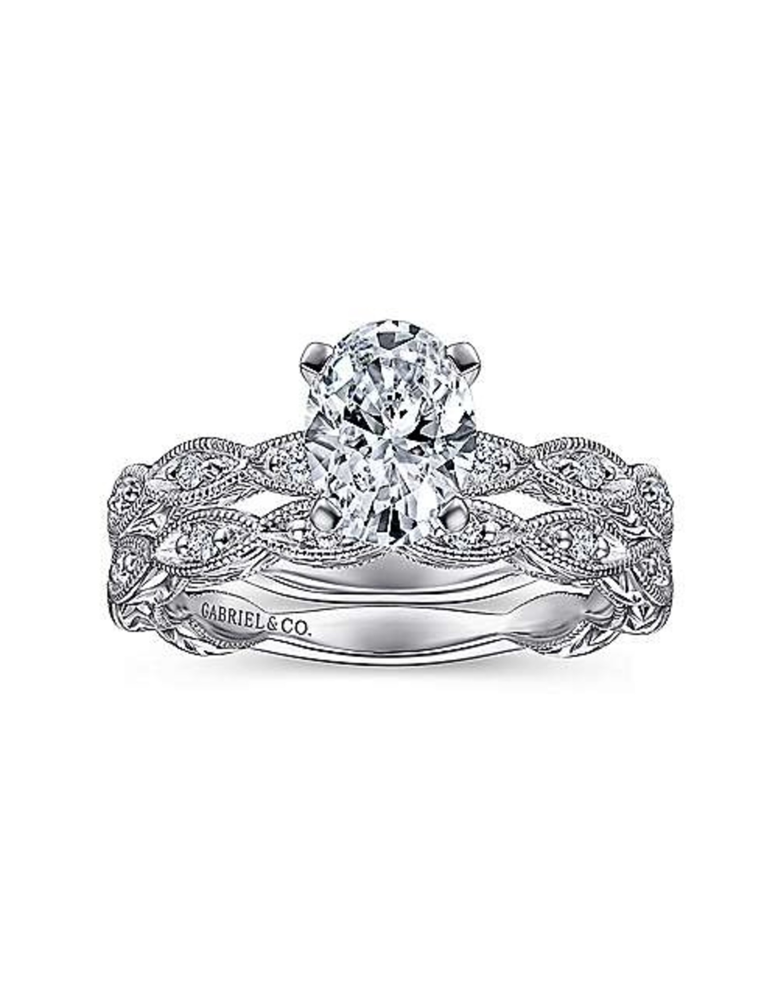 14K White Gold Oval Diamond  Engagement Ring, D: 0.81ct, F, VS2