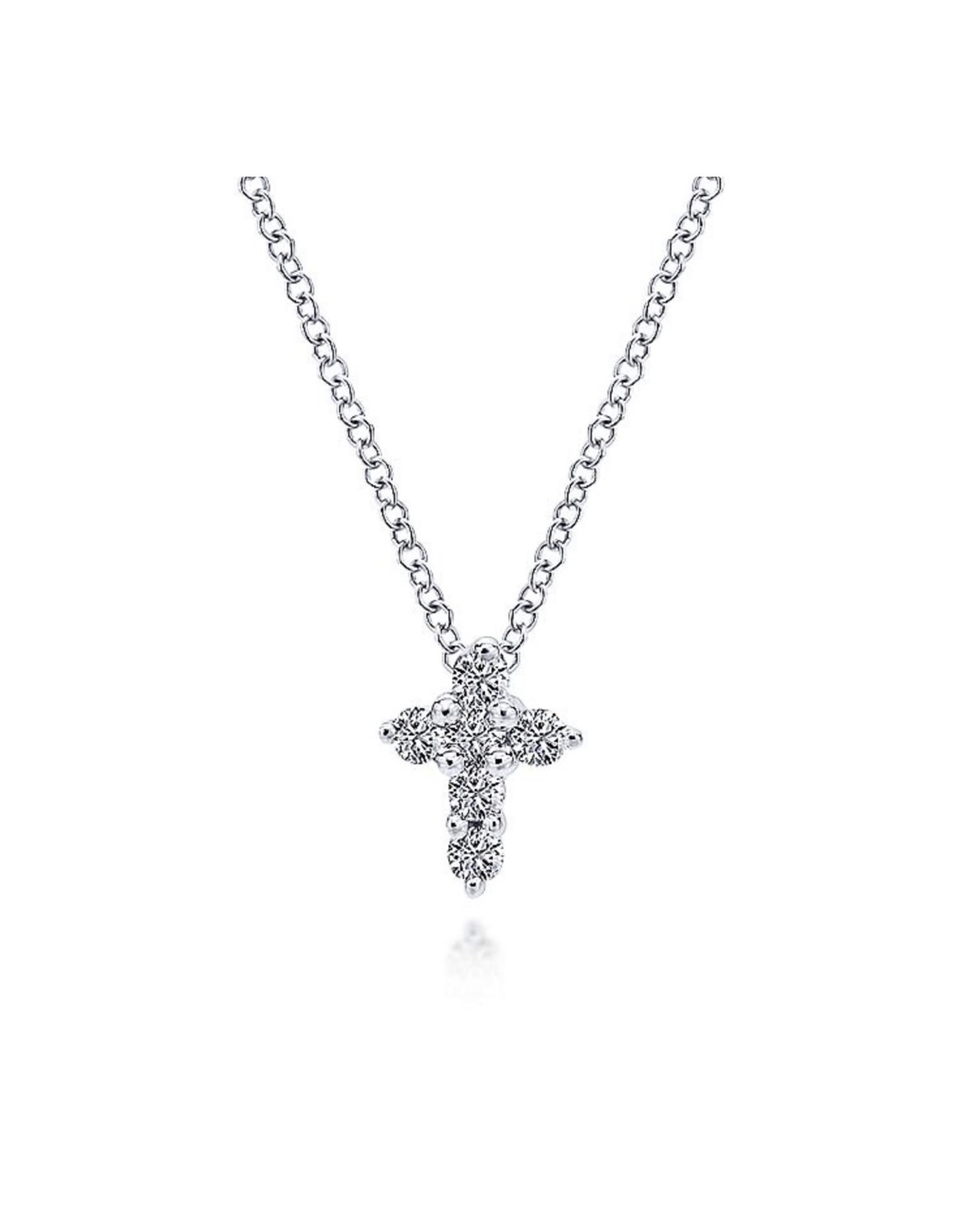 14K White Gold Tiny Diamond Cross Necklace, D: 0.10ct