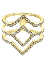 14K Yellow Gold Triple Geometric Diamond Ring, D: 0.36ct