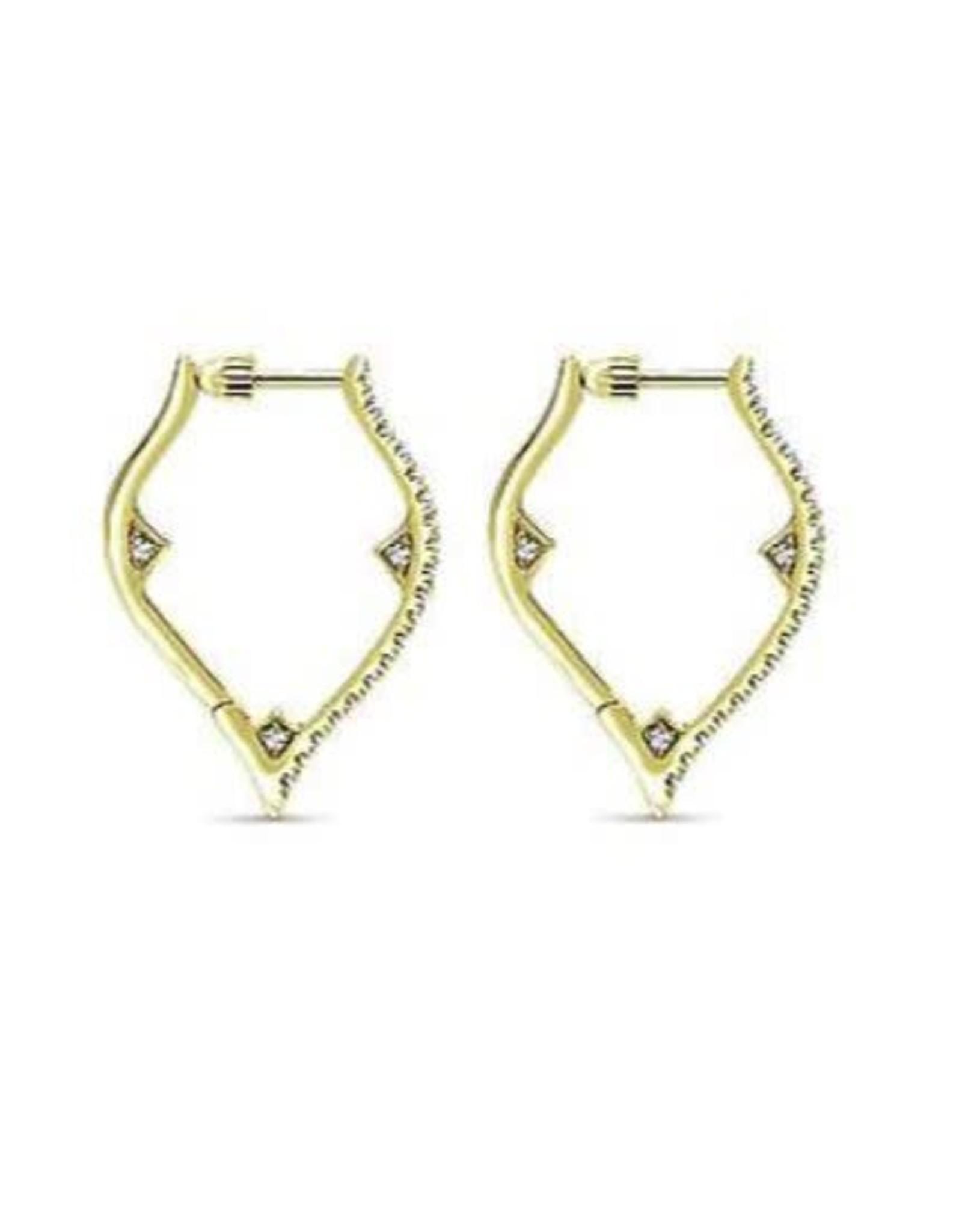 14K Yellow Gold Diamond Hoop Earrings with Screw Backs, D: 0.52ct