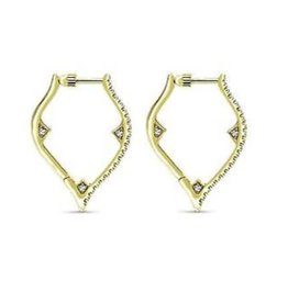 14K Y/G Diamond Hoop Earrings with Screw Backs