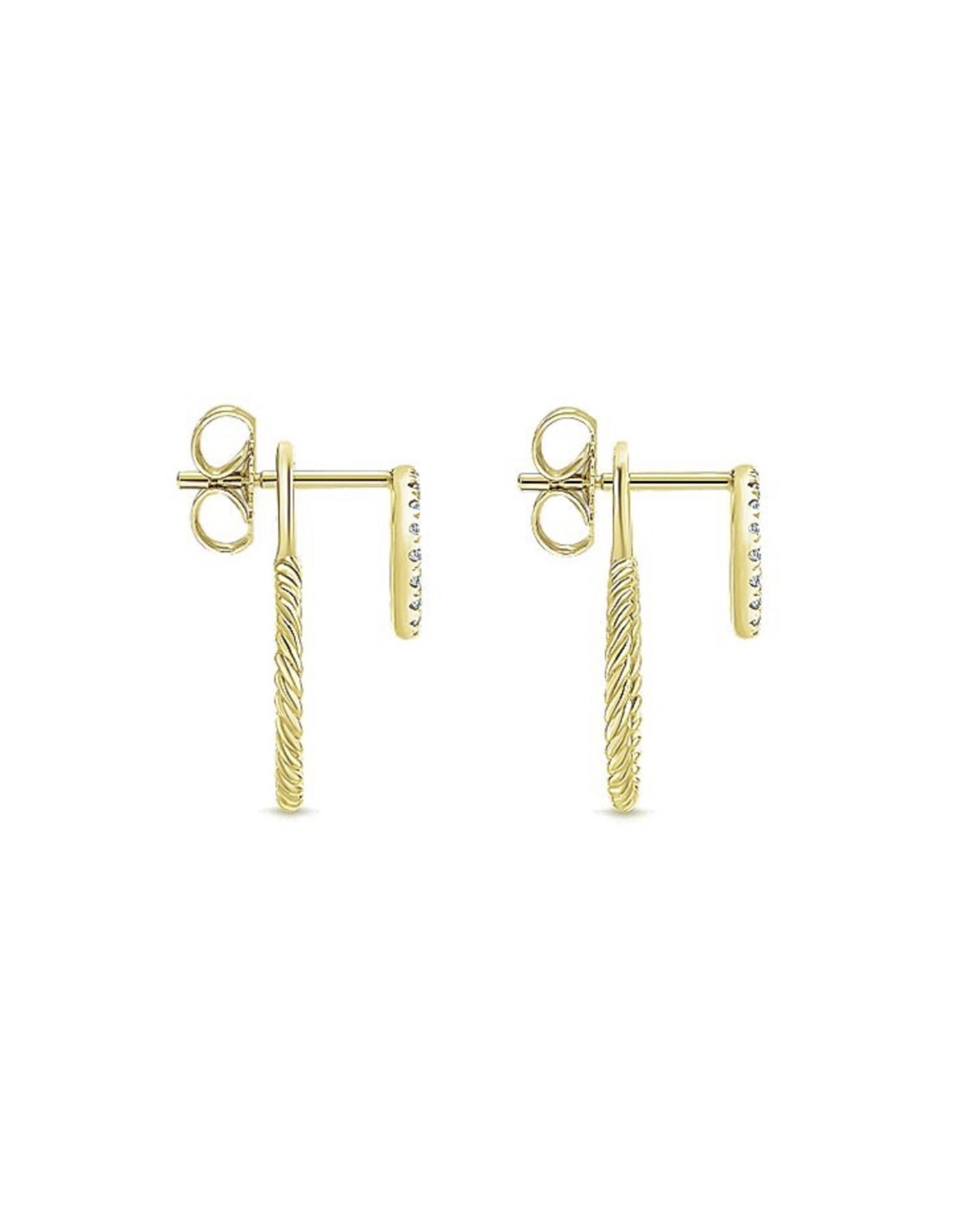 14K Yellow Gold Double Circle Diamond and Twisted Rope Earrings, D: 0.19ct