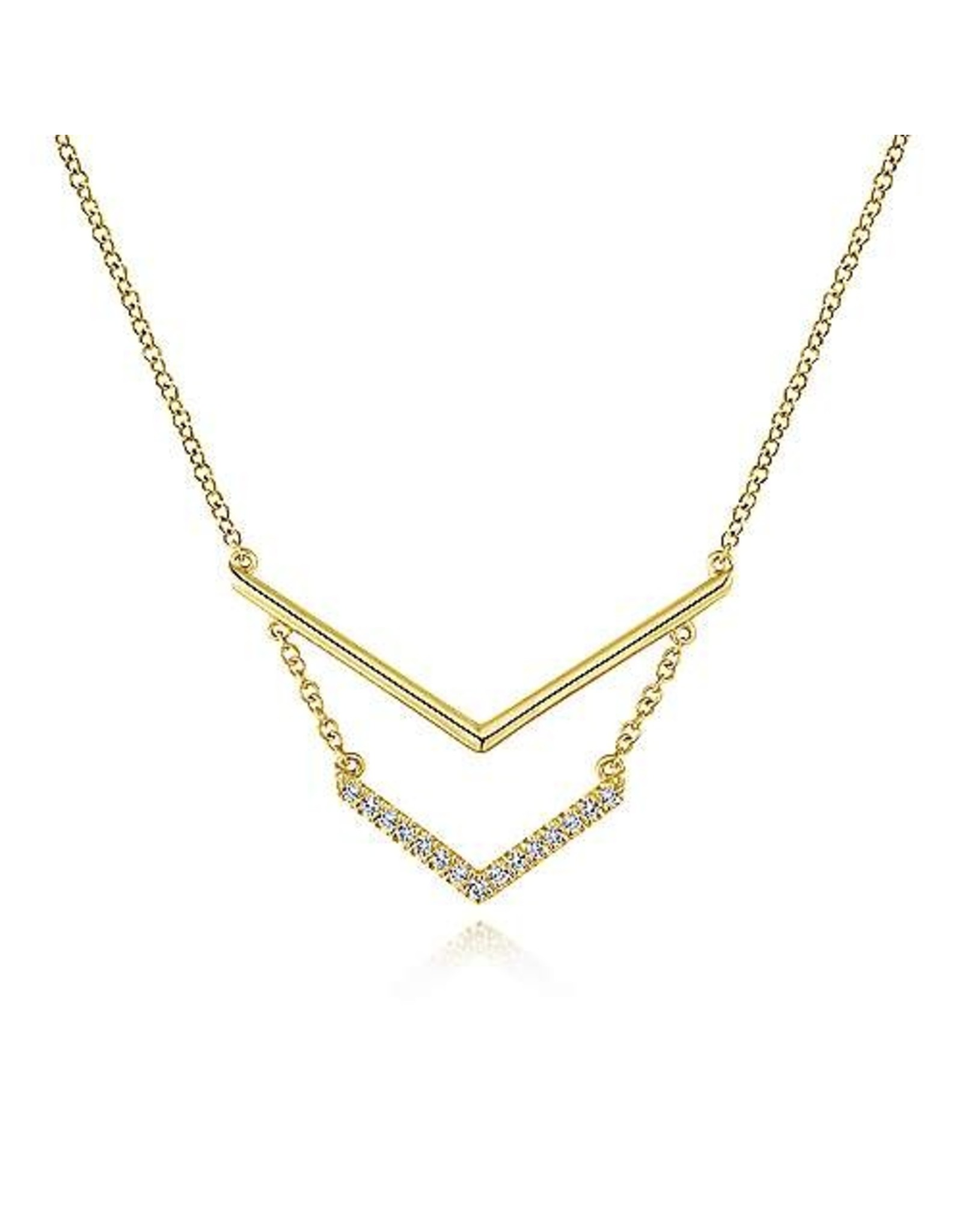 14K Yellow Gold Double Chevron Diamond Necklace, D: 0.07ct