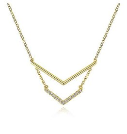 14K Y/G Double Chevron Diamond Necklace