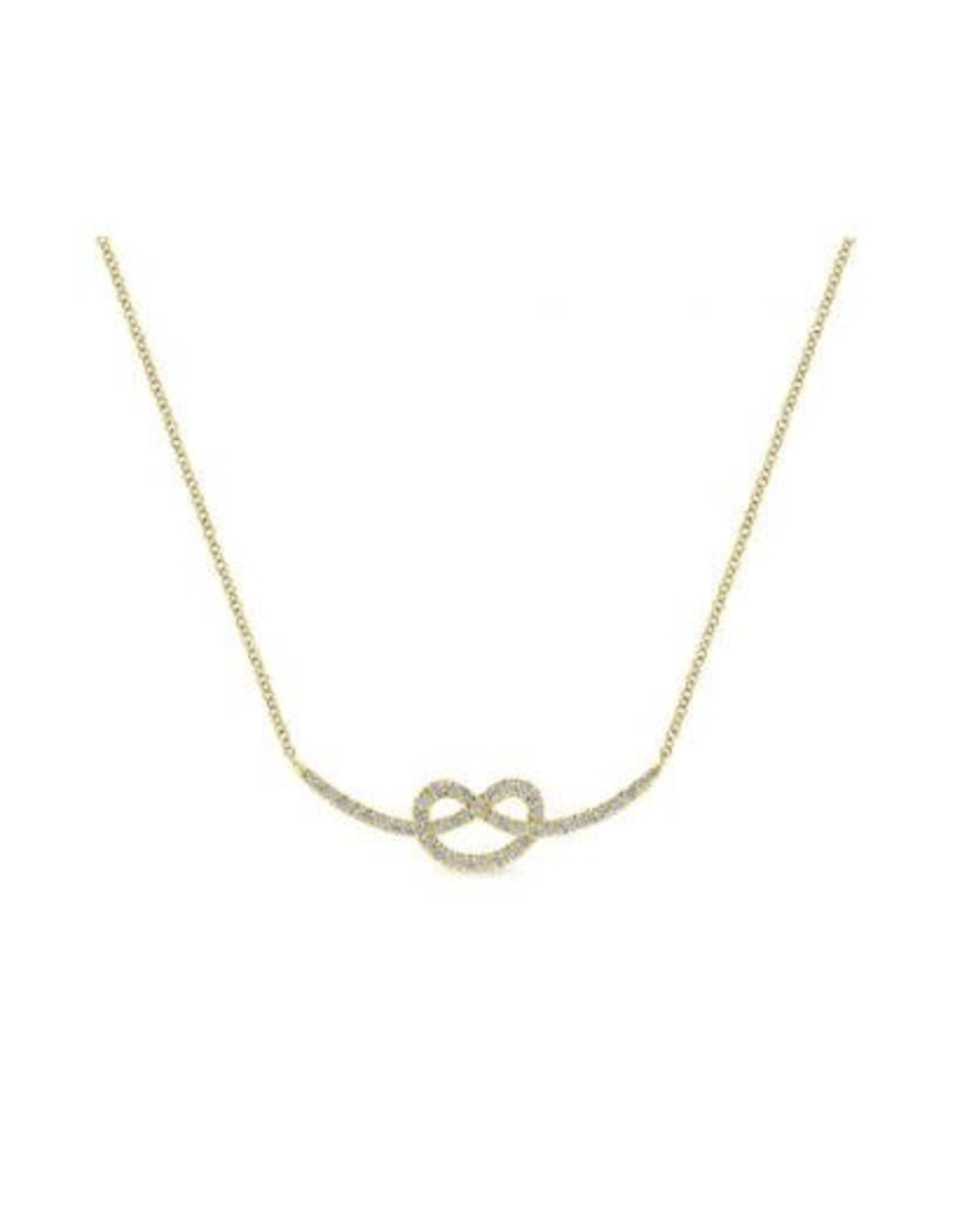 14K Yellow Gold Eternal Love Knot Necklace, D: 0.40ct