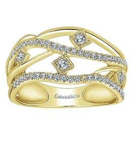 14K Y/G Layered Open Work Diamond Ring