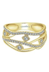 14K Yellow Gold Layered Open Work Diamond Ring, D: 0.37ct