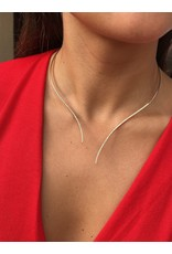 14K Yellow Gold Flexible Open Collar Diamond Necklace, D: 1ct