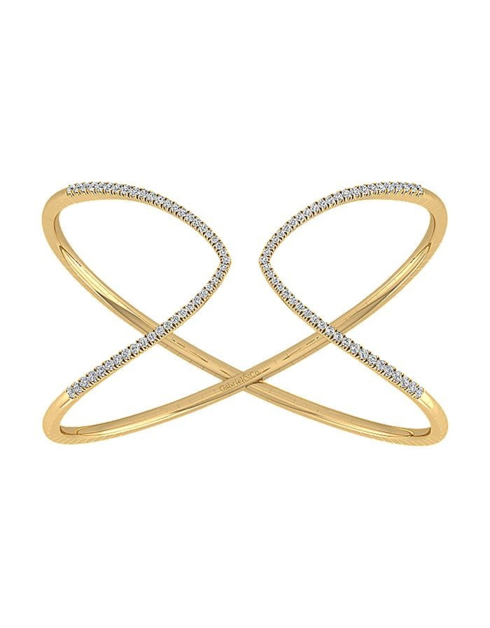 14K Yellow Gold Flexible Diamond Cuff Bracelet, D: 1.22ct