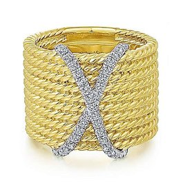 14K Y/G Diamond X-Marks the Spot Rope Ring