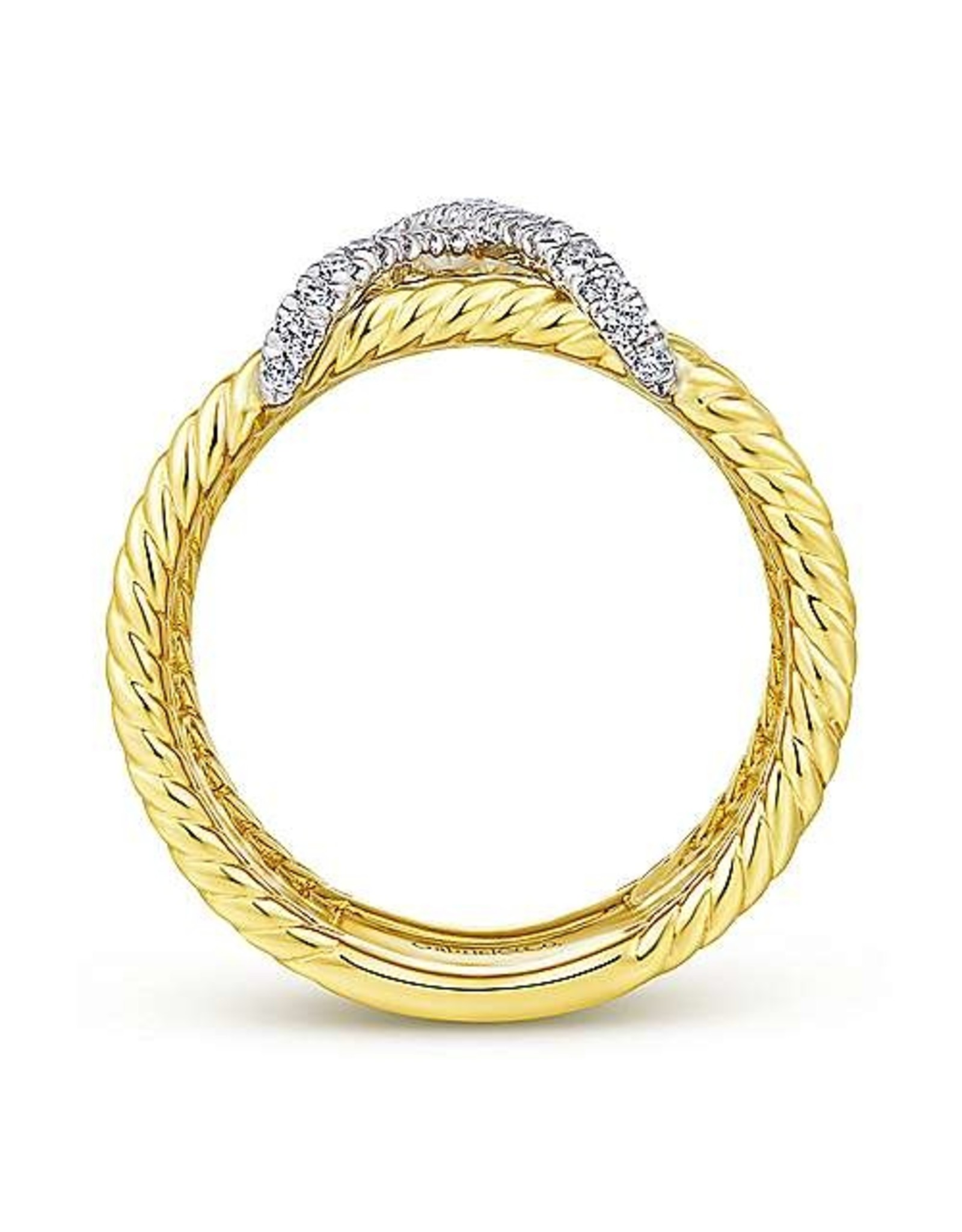 14K Yellow Gold Diamond X-Marks the Spot Twisted Rope Ring, D: 0.25ct
