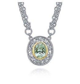 925 & 18K Y/G Oval Green Amethyst Necklace