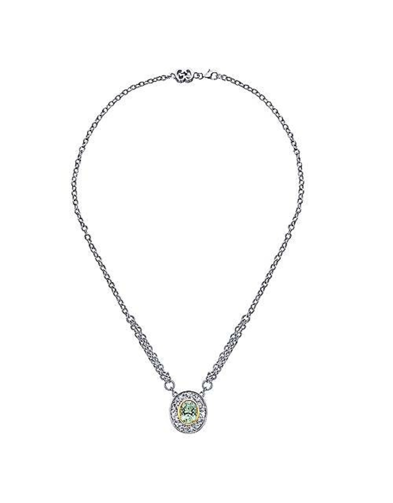 925 & 18K Yellow Gold Oval Green Amethyst Necklace, GA: 4.21ct