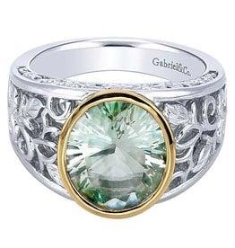 925 & 18K Y/G Green Amethyst Victorian Style Ring