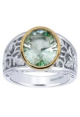 925 & 18K Yellow Gold Green Amethyst Ring, GA: 4.21ct