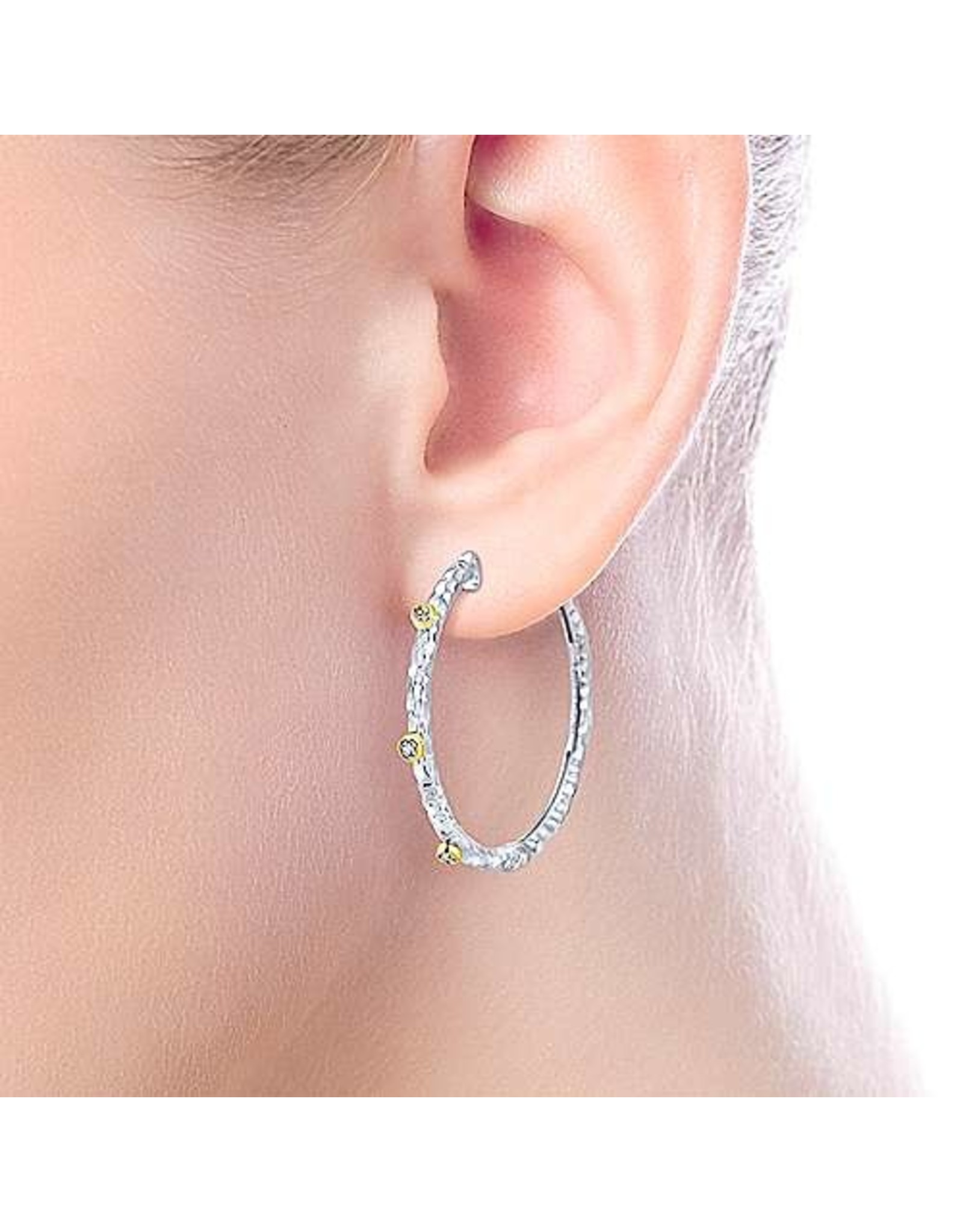 925 & 18K Yellow Gold Hammered Hoop Earrings, D: 0.07cts